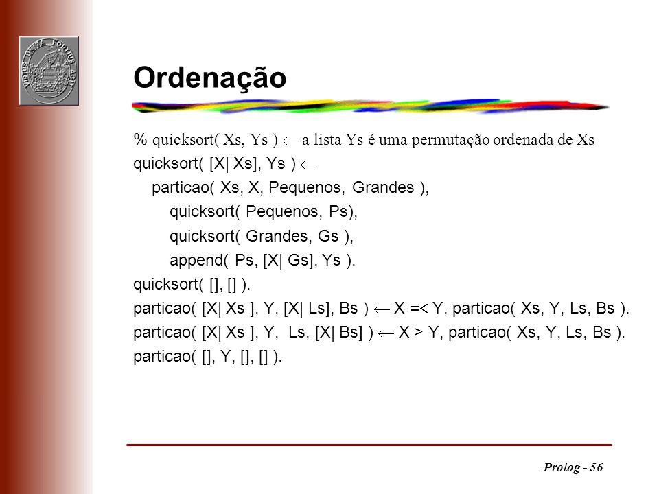 Ordenação % quicksort( Xs, Ys ) ¬ a lista Ys é uma permutação ordenada de Xs. quicksort( [X| Xs], Ys ) ¬